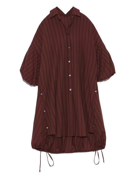 パフスリーブロングシャツ(STRIPE-F)