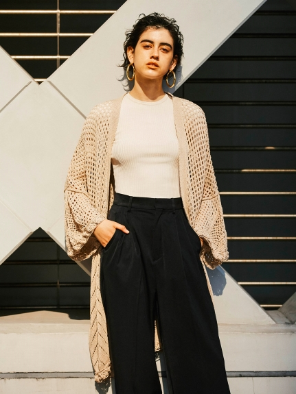 Wide rib rib knit pullover