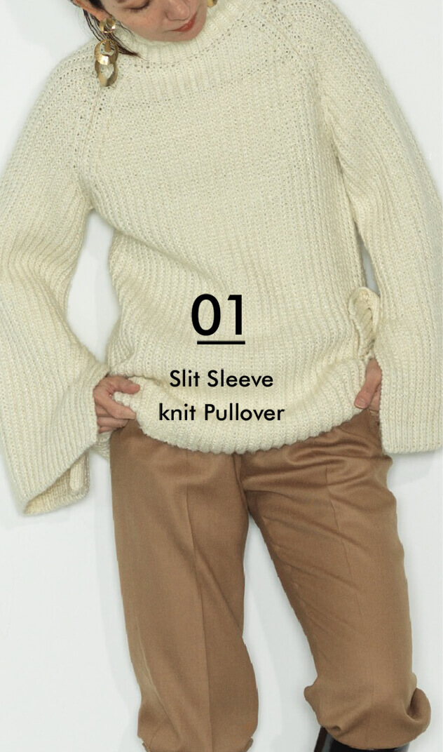 01 Slit Sleeve knit Pullover