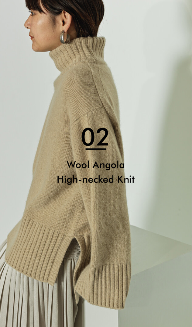 02 Compress Knit Bolero Henley Neck Rib Pullover