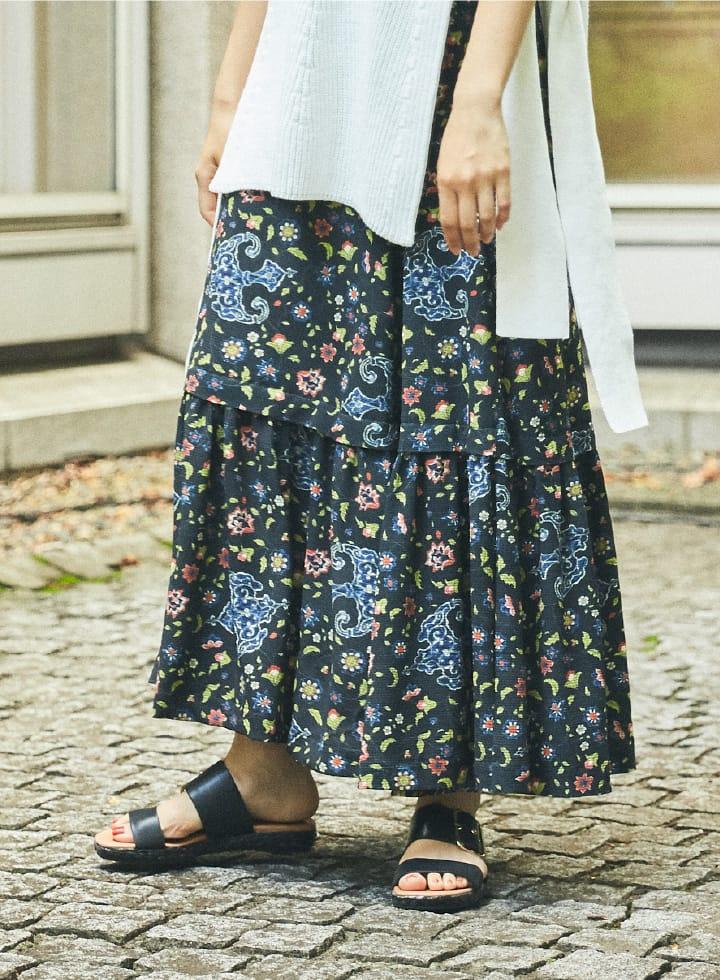 Knit Vest & Print Skirt