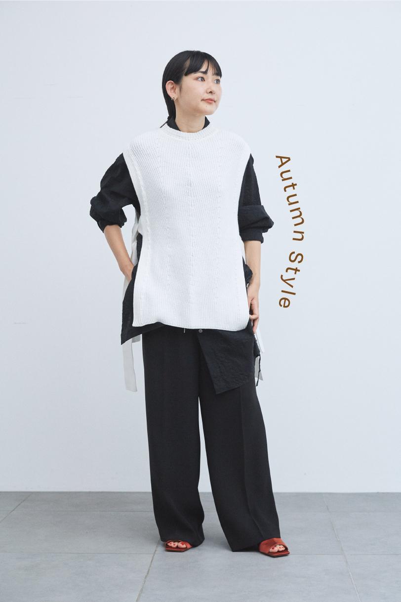 ニットベスト、サイドコードロングシャツ、ドローストリングパンツ